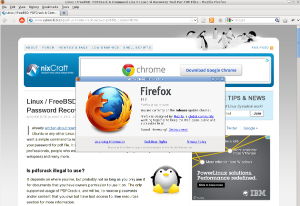 Fig.01: Firefox 13 in action