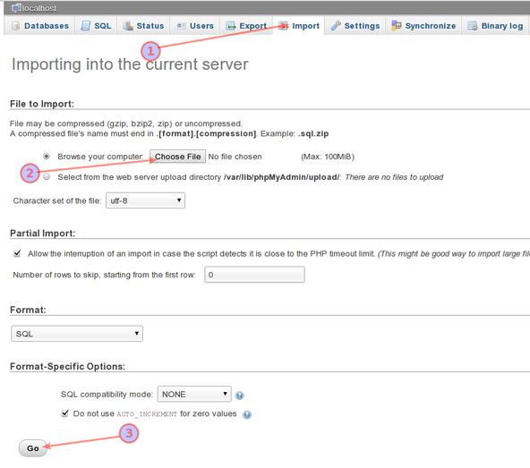 phpMyAdmin Importing .SQL File