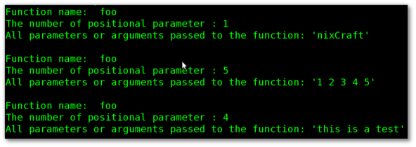 Bash Function: Find Number Of Arguments Passed