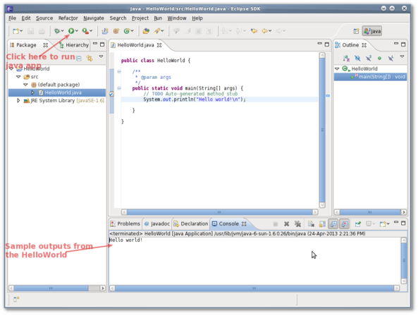 Fig.07: Running the HelloWorld Java app