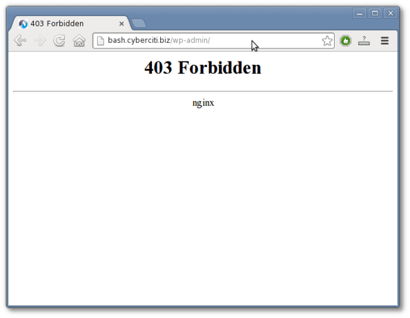 Fig.01: Nginx blocking WordPress Admin Portal