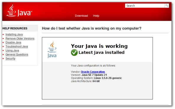 Fig.07: Testing whether Java is working on my Firefox browser