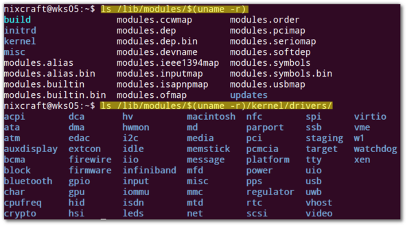 Fig.01: Device drivers on my Linux based system