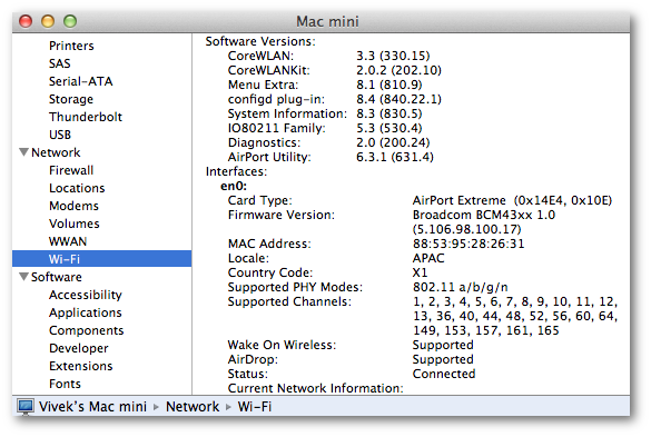 Fig.03: Finding My Mac Mini's WI-FI speed using system information. Please note that you may need to scroll down the right side to see all info.