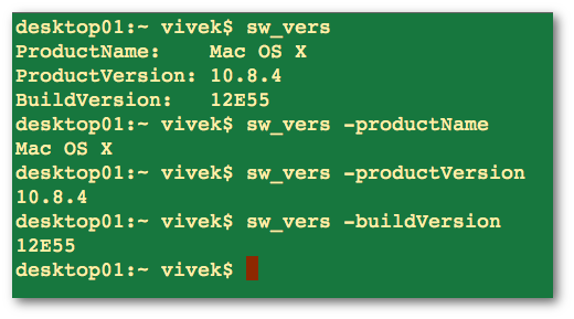 Fig.03: Finding Mac OS X version using sw_vers command line tool