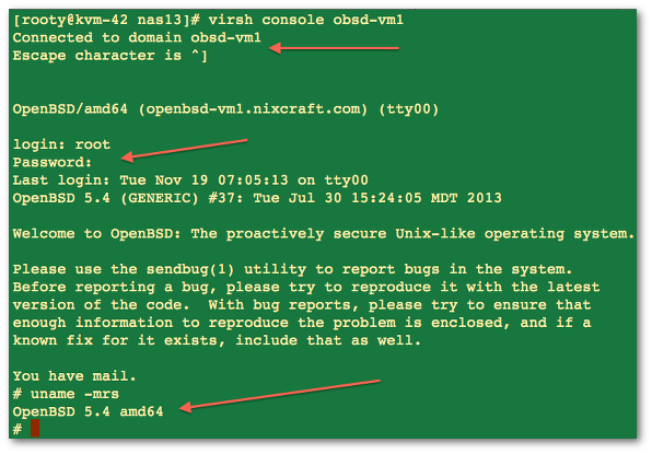 Fig.02:  Getting access to a OpenBSD VM console when networking is down