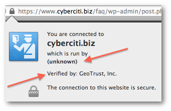 Fig.01: Cyberciti.biz connection encrypted and verified by a third party CA called GeoTrust, Inc.