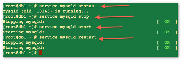 Fig.01: Starting / stopping / restarting the mysql server on centos