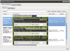 Debian Linux Running Emerald Theme Manager