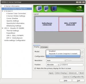 Linux NVIDIA X Server Dual Monitor Settings Gui Tool