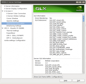 Linux NVIDIA X Server Settings Finding GLX (OpenGL) Settings