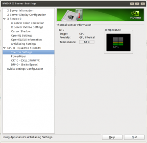 Find Linux NVIDIA X Server Settings GPU Temperature