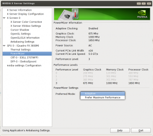 Linux NVIDIA X Server Settings Control Various GPU Settings