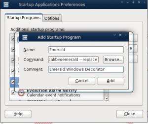 Debian Linux Adding Emerald Windows Decorator - Startup Option
