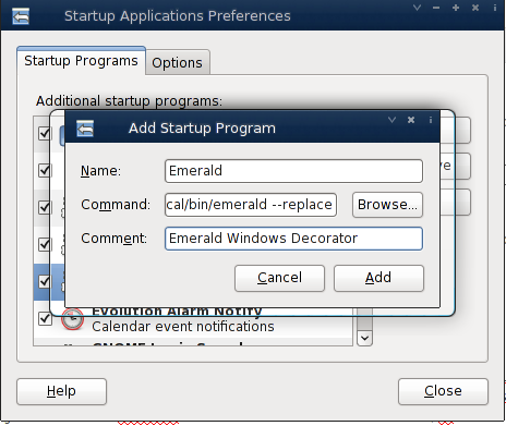 Debian Linux Adding Emerald Windows Decorator - Startup Option