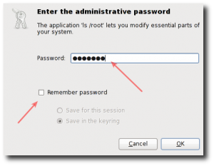 Fig.02: Gnome gksu authentication box for the target user