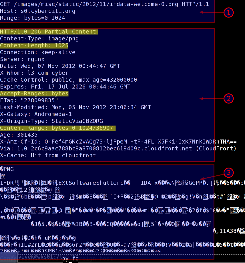 Fig.01: Telnet command Range-requests bytes header example (HTTP 206)