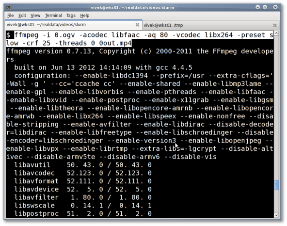 Fig.06: ffmpeg in action (ogv to mp4 conversion)
