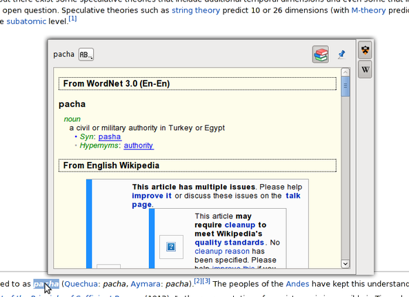 Fig.03: Look up pacha word using popup scan