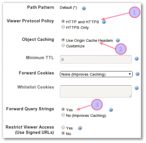 Fig.04: Configure default cache behavior settings