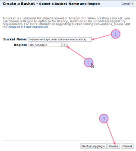 Fig.02: Create a bucket for access log