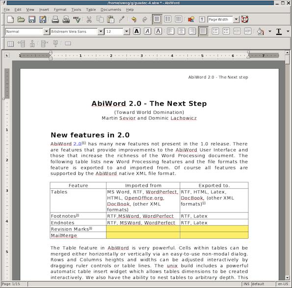 AbiWord - Cool FOSS Software of 2013 - nixCraft
