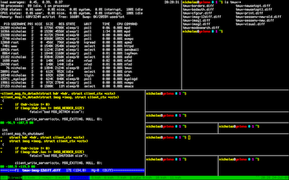 Tmux - Cool FOSS Software of 2013 - nixCraft