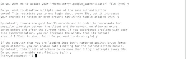 Fig.03: Google Authenticator Linux options