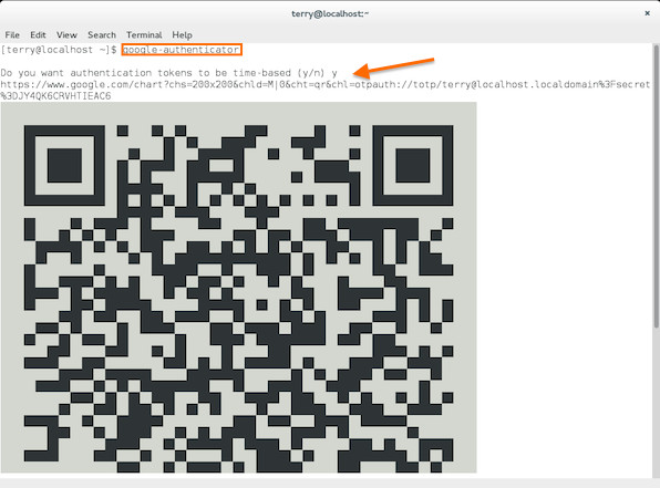 Fig.01: Google Authenticator app qr code for Linux