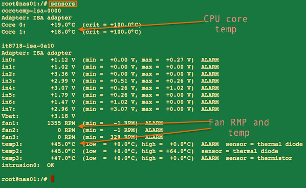 Fig.03: sensors command providing cpu core temperature and other info on a Linux