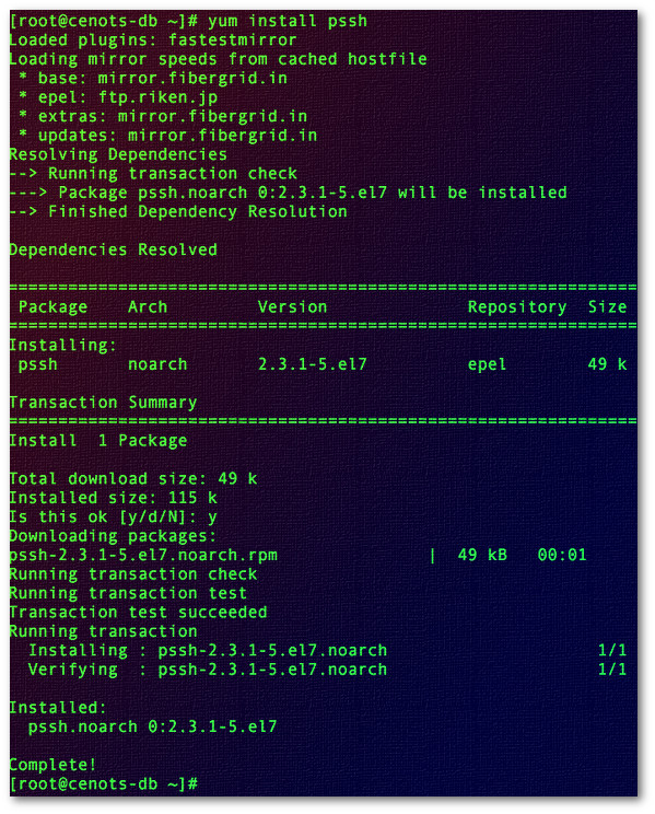 Fig.04: Installing pssh on RHEL/CentOS/Red Hat Enterprise Linux