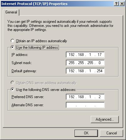 Fig.02: Windows XP TCP/IP Properties - DNS Settings And IP Address
