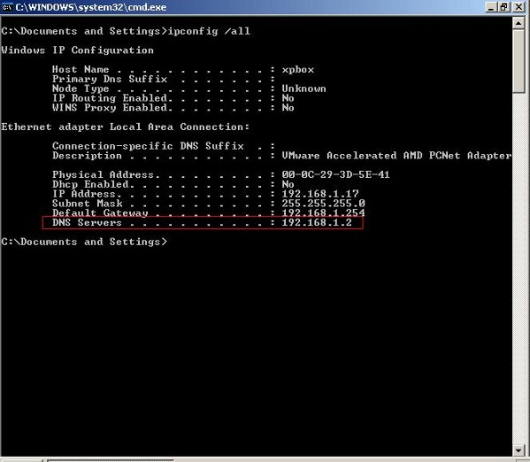Fig.03: MS-Windows command to find out DNS server IP addresses