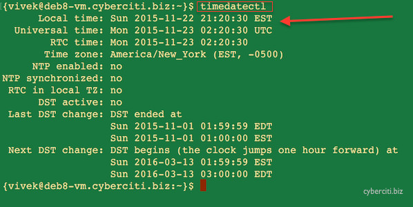 Fig.01: Systemd Linux timedatecetl command to display the current date and time