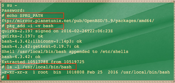 Fig.01: Installing bash shell on OpenBSD 5.9