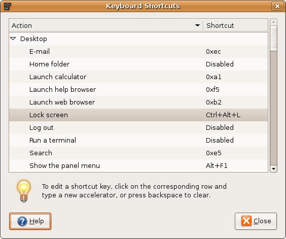 Create / modify keyboard shortcuts in Gnome under Linux / UNIX  with Keyboard Shortcuts tool