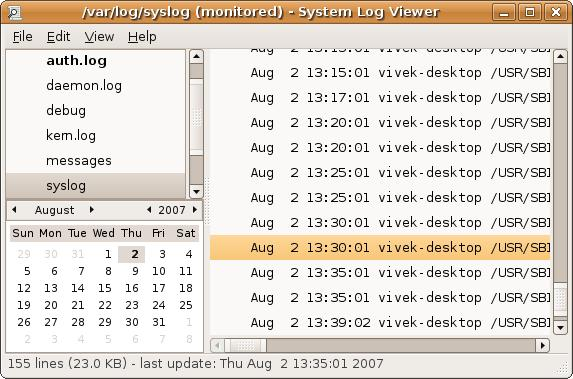 Fig.01 Gnome log file viewer