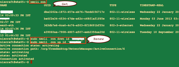 Fig.02: nmcli command in action