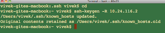 Fig.01: Removing /Users/user/.ssh/known_hosts file