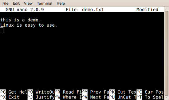 Fig.01: pico text editor in action