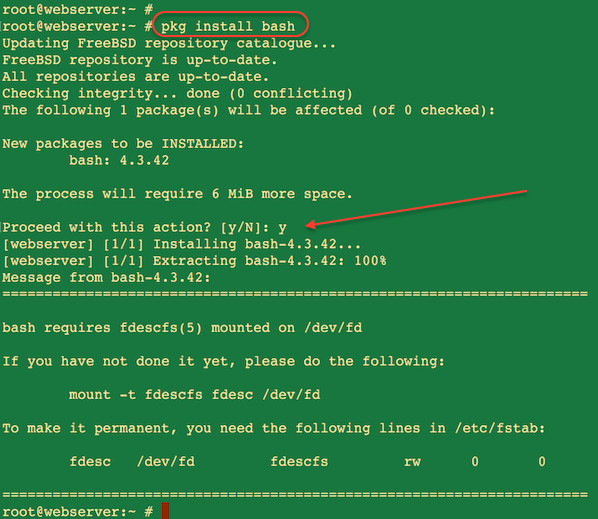 Fig.04: Howto Install BASH in FreeBSD using pkg Command
