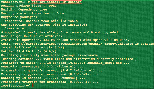 Fig.03: Install lm-sensors using apt-get