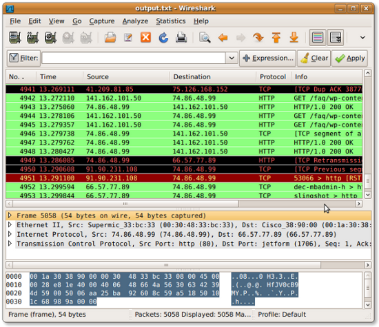 Fig.01 - Wireshark in action: Displaying output.txt tcpudum file