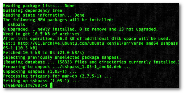 Fig.01: Installing sshpass on Debian/Ubuntu Linux