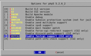 Fig.01 Enable FastCGI support by selecting FastCGI option