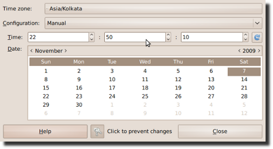 Fig.01: Linux Date and Time  Administration Tool