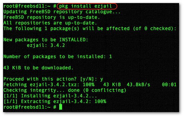 Installing FreeBSD jail management utility ezjail