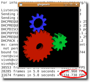 Fig.01: glxgears in action (FPS rate is displayed in background)