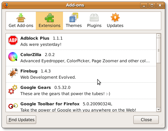 Howto: View Firefox Installed Plugins (Addons) List