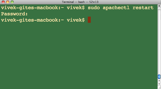 Fig.01: Restarting Apache under Mac OS X